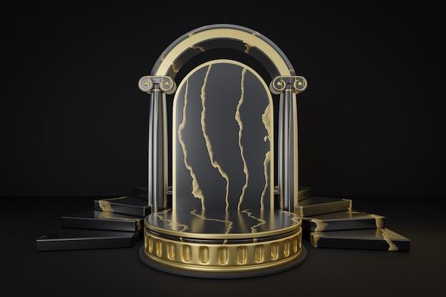 Espositore per prodotti cosmetici, podio cilindrico in marmo romano in oro nero con colonne e scala su sfondo nero. illustrazione di rendering 3d