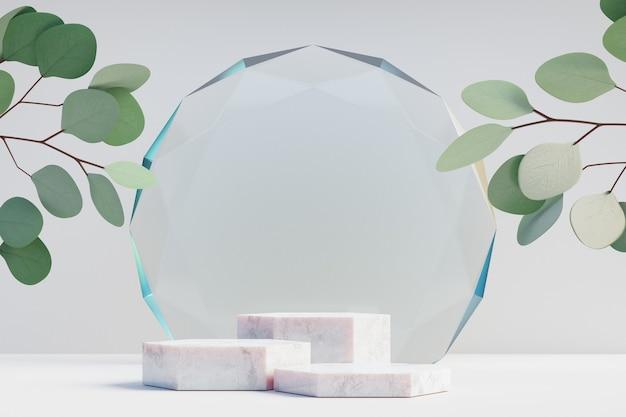 Espositore per prodotti cosmetici, podio in marmo a tre esagoni con parete in vetro diamantato circolare e foglia naturale su sfondo chiaro. illustrazione di rendering 3d