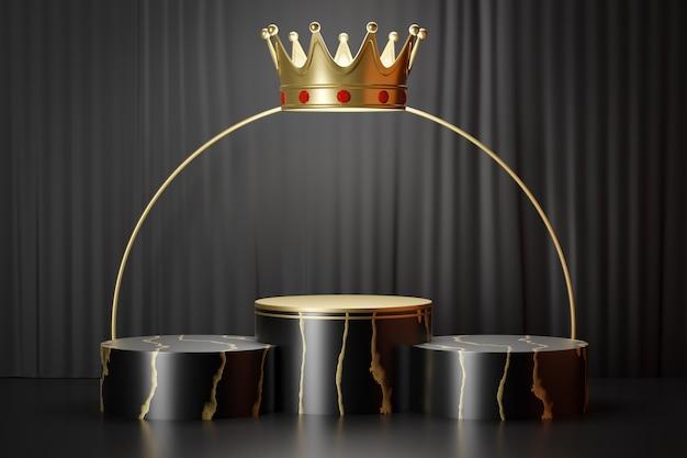 Espositore per prodotti cosmetici, podio cilindrico in oro nero a tre marmi con corona e anello in oro su sfondo nero. illustrazione di rendering 3d