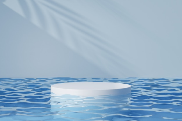 Espositore per prodotti cosmetici, podio cilindrico rotondo bianco su riflesso dell'acqua blu e sfondo dell'ombra della luce solare. illustrazione di rendering 3d