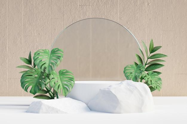 Espositore per prodotti cosmetici, podio cilindrico rotondo bianco con pietra a foglia verde e parete in vetro opaco circolare e fondo in cemento. illustrazione di rendering 3d