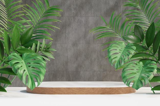 Espositore per prodotti cosmetici, podio cilindrico in legno bianco e foglia di palma naturale su sfondo di cemento. illustrazione di rendering 3d