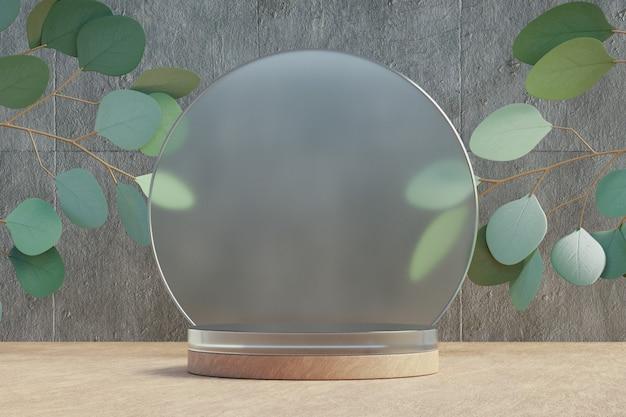Espositore per prodotti cosmetici, podio cilindrico in legno con parete in vetro diamantato circolare e foglia naturale su sfondo chiaro. illustrazione di rendering 3d