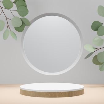 Espositore per prodotti cosmetici, podio cilindrico in legno bianco con cornice circolare e pianta a foglia verde su sfondo bianco. illustrazione di rendering 3d