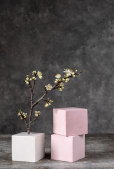 Forme geometriche cosmetiche tre cubi e un ramo sbocciante di una ciliegia su una parete astratta grigia. per la dimostrazione di prodotti cosmetici in vetrina e copia spazio copy Foto Premium