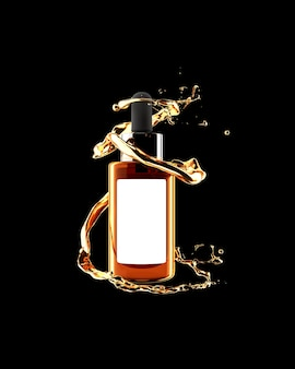 Mockup di siero d'oro cosmetico 3d rendering