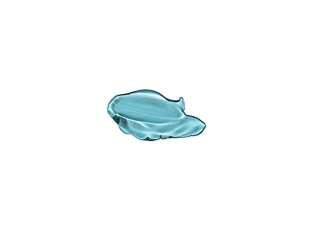 Gel liquido trasparente cosmetico splash blu isolato su priorità bassa bianca