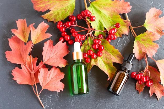 Olio cosmetico di viburno in bolle con contagocce, foglie e bacche di viburno su sfondo nero. vista dall'alto.