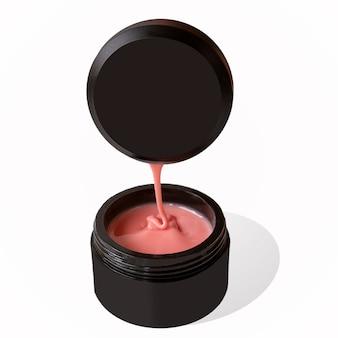 Cosmetici per la cura delle mani per il rivestimento gocciolante delle unghie dalla copertura della lamina ungueale in una dose nera su sfondo bianco