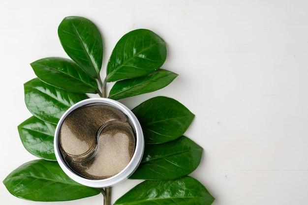 Cosmetici bende in idrogel e ramo verde con foglie su sfondo bianco