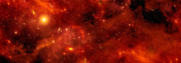 Uno sfondo cosmico con una nebulosa arancione brillante e lo scintillio delle stelle dorate nell'universo