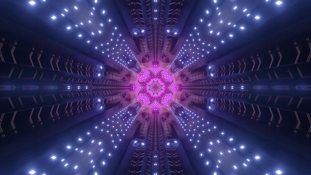Corridoio cosmico con raggi al neon di luce e figura colorata rosa come futuristica illustrazione 3d