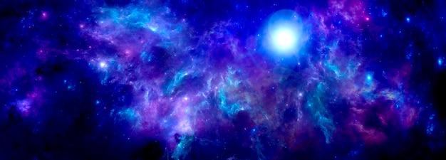 Uno sfondo di fantasia cosmica con una nebulosa viola brillante e il luccichio delle stelle