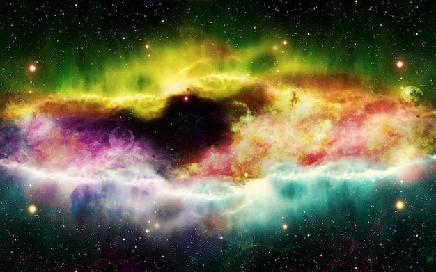 Nebulosa cosmica piena di stelle e galassie illustrazione 3d dell'universo multicolore