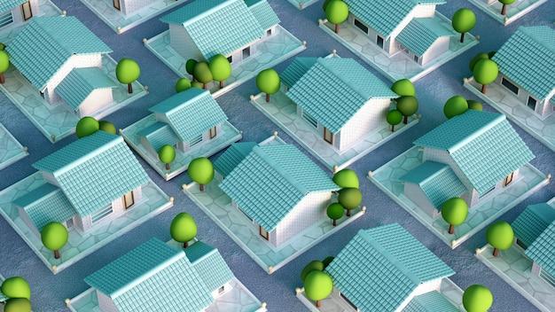 Cottage villaggio 3d rendering illustrazione