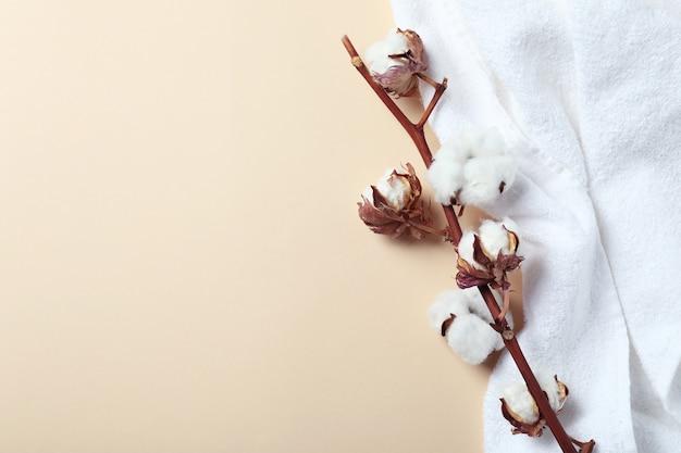 Ramo e asciugamano della pianta del cotone sulla superficie beige