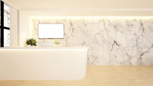 Contro design reception per hotel - rendering 3d