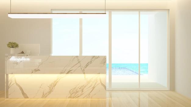 Bancone reception e vista piscina