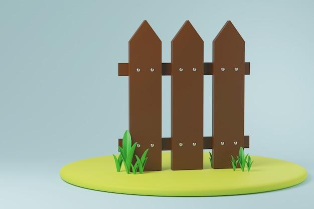 Recinzione di campagna con erba intorno all'illustrazione 3d