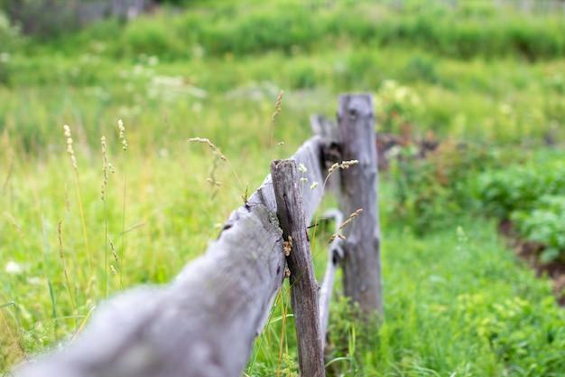 Casa di campagna in campagna. recinto nel giardino di lunghi bastoni. parti della zona.