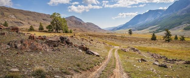 Strada di campagna in una valle di montagna, giorno d'estate