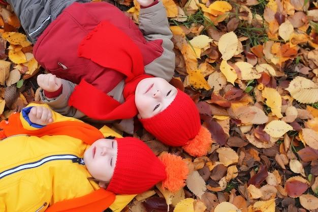 Coppia bambini fratello e sorella in autunno che risiedono nelle foglie