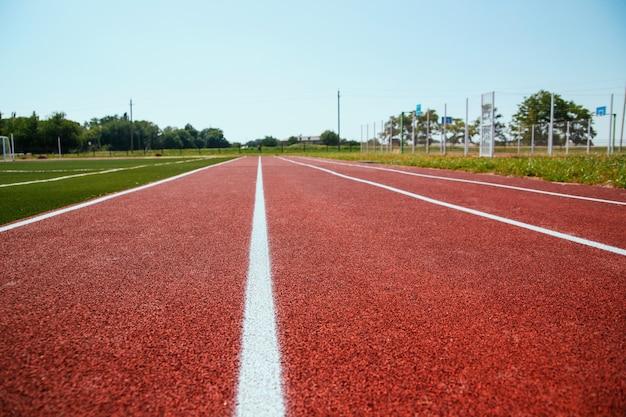 Coprire il tapis roulant in primo piano. linee bianche segnate sul campo sportivo. sfondo e trama a tema sportivo.