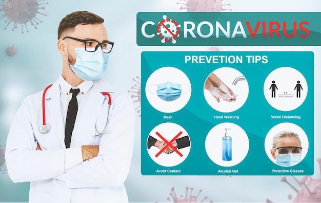 I suggerimenti per la prevenzione del coronavirus covid-19 vengono utilizzati per le persone per proteggersi dalle infezioni