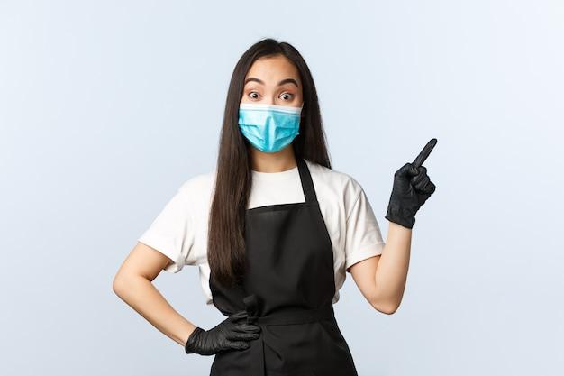 Covid-19 pandemia, allontanamento sociale, piccole imprese e prevenzione del concetto di virus.