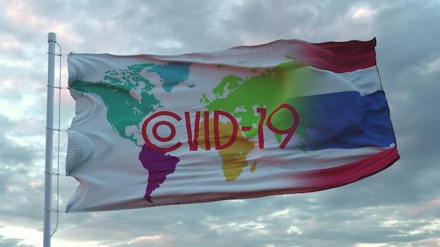 Segno di covid-19 sulla bandiera nazionale della thailandia. concetto di coronavirus. rendering 3d.