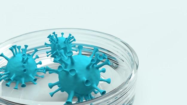 Covid 19 virus in vetreria rendering 3d per contenuti medici.