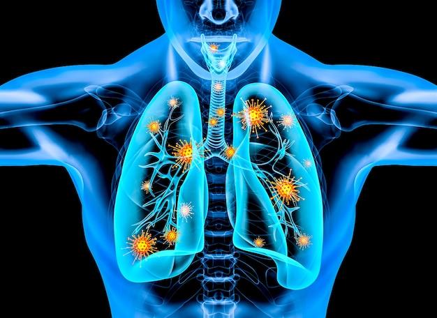 Virus covid 19 all'interno del corpo umano. rendering 3d.