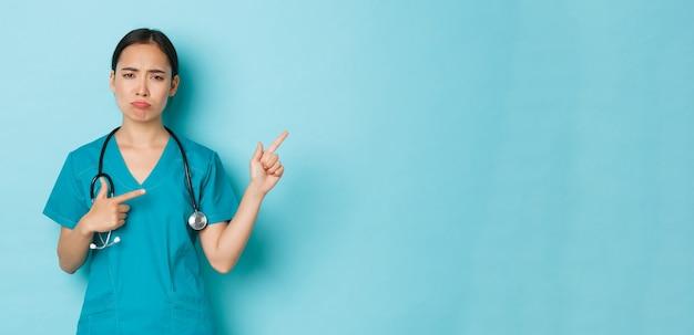 Distanziamento sociale di covid e concetto di pandemia di coronavirus che si lamenta del dottore asiatico deluso...