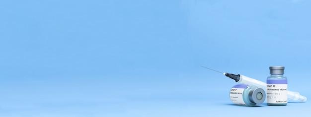 Flacone di vaccino covid con siringa su sfondo azzurro con copyspace, vaccino coronavirus, vaccino covid 19, immagine banner con spazio di copia