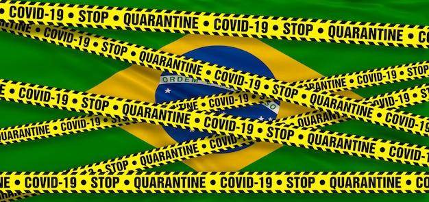 Area di quarantena del coronavirus covid19 in brasile. sfondo bandiera brasiliana. illustrazione 3d