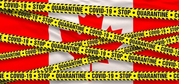 Area di quarantena del coronavirus covid19 in canada. sfondo bandiera canadese. illustrazione 3d
