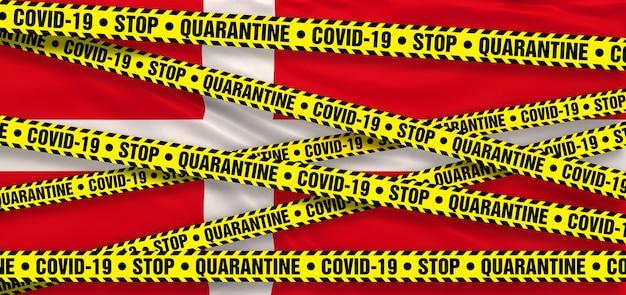 Area di quarantena del coronavirus covid19 in danimarca. sfondo bandiera danese. illustrazione 3d
