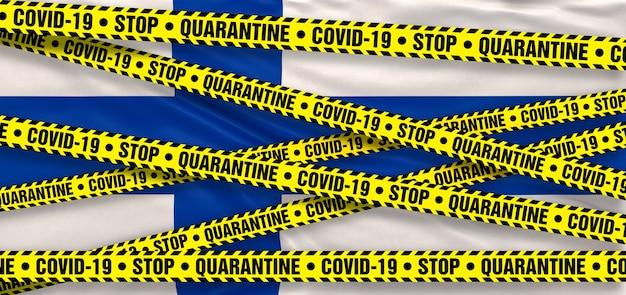 Area di quarantena del coronavirus covid19 in finlandia. sfondo bandiera finlandese. illustrazione 3d