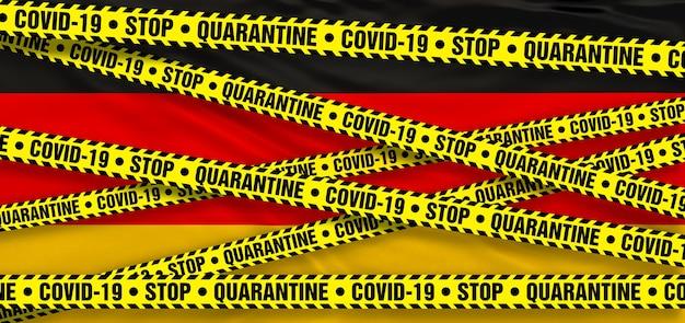 Area di quarantena del coronavirus covid19 in germania. sfondo bandiera tedesca. illustrazione 3d
