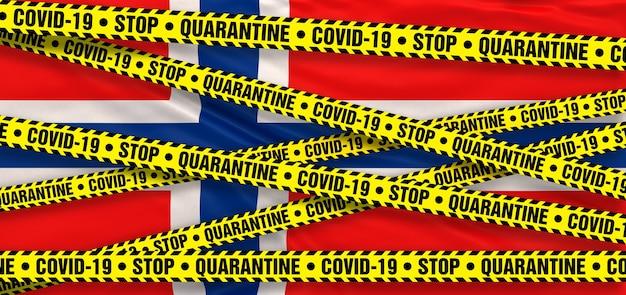 Area di quarantena del coronavirus covid19 in norvegia. sfondo bandiera norvegese. illustrazione 3d