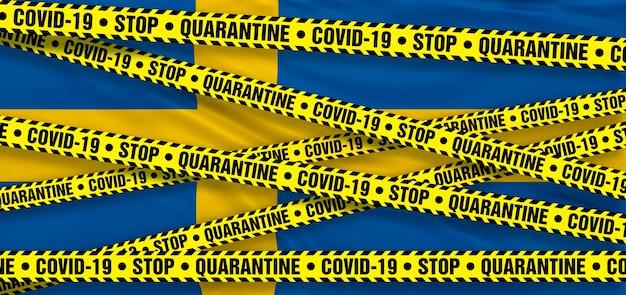Area di quarantena del coronavirus covid19 in svezia. sfondo bandiera svedese. illustrazione 3d
