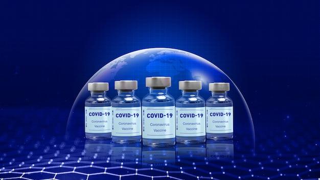 Concetto di vaccini covid19 vaccini covid19 all'interno di bottiglie