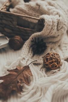 Accogliente concetto autunnale o invernale