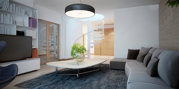Salotto dal design accogliente con mobili scuri e pareti combinate con decorazioni.