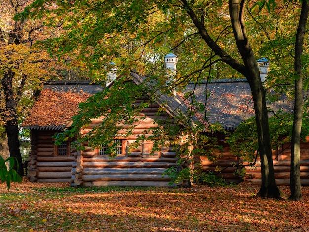 Un'accogliente baita in legno nella foresta d'autunno