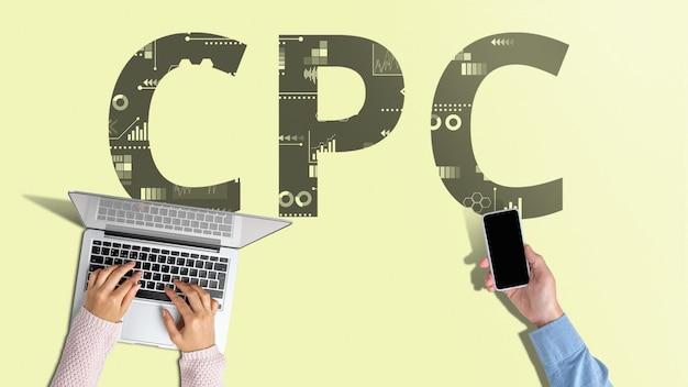Cpc cost per click popolare modello di pubblicità su internet per le aziende.