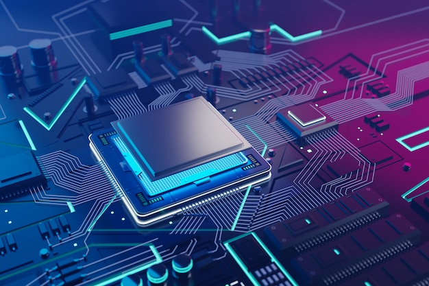 Cpu e sfondo di chip di computer