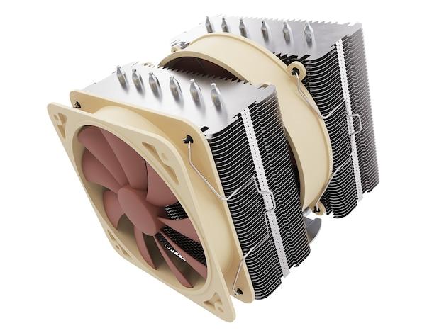 Dispositivo di raffreddamento della cpu, dissipatore di calore con su sfondo isolato. rendering 3d