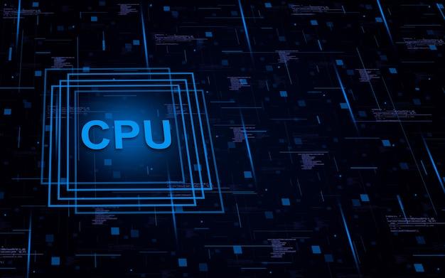 Elemento cpu su background tecnologico con elementi di codice