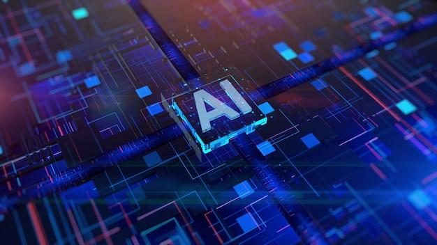 Processore cpu su circuito stampato intelligenza artificiale